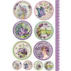 スタンペリア Stamperia イタリア デコパージュ用ライスペーパー Rice paper A4 Targhette con violette DFSA4082