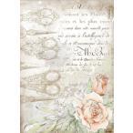スタンペリア Stamperia デコパージュ用ライスペーパー A4 Rice paper 糸切ハサミと薔薇 花 DFSA4565 Spring 2021 Collections