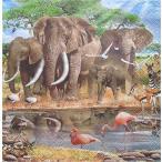 Maki ポーランド ペーパーナプキン アフリカ象と動物の仲間達 Afrika Animals バラ売り2枚1セット SLOG-018101 デコパージュ ドリパージュ