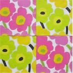 25cmペーパーナプキン4枚セット カクテルサイズ オリジナルアソート マリメッコ Marimekko UNIKKO light pink Unikko yellow 紙コースター デコパージュ