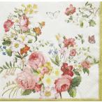ショッピングイタリア イタリア Easy Life 旧NUOVA R2S社 ペーパーナプキン Lunch napkins 豊麗に咲き誇る花々 Blooming Opulence Cream バラ売り2枚1セット 414-BLOC