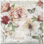 イタリア NUOVA R2S社ペーパーナプキン 美しい花と蝶 Marche aux Fleurs バラ売り2枚1セット 414-FLEU デコパージュ ドリパージュ
