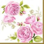 イタリア NUOVA R2S社ペーパーナプキン 美しいバラ Delicate Roses バラ売り2枚1セット L-414-CATE デコパージュ ドリパージュ