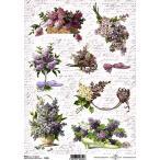 作品販売可能 ポーランド デコパージュ用ライスペーパー Rice paper A4 R0355 花 フラワー パーツ モチーフ