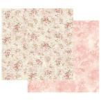 スタンペリア Stamperia イタリア 両面柄 スクラップブッキングペーパー 1枚バラ売り 薔薇 花 Shabby roses and writing SBB436 12x12インチ