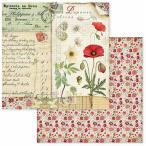 スタンペリア Stamperia イタリア 両面柄 スクラップブッキングペーパー 1枚バラ売り ポピー 花 蝶 バタフライ Provence cards SBB586 12x12インチ