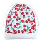 巾着 体操服袋 チェリーチェリーストライプ × 帆布・オフホワイト