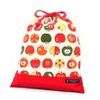 巾着 体操服袋 おしゃれリンゴのひみつ(アイボリー) × オックス・赤