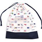 巾着 体操服袋 国旗で旅する世界旅行(生成) × オックス・紺