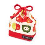 巾着 コップ袋 おしゃれリンゴのひみつ(アイボリー) × オックス・赤