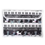 連絡袋(B5サイズ) ピアノの上で踊る黒猫ワルツ(ブラック) (連絡帳袋 連絡帳ケース 子供 小学生 連絡帳入れ かわいい 裏面透明 B5)