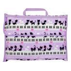 防災頭巾カバー スタンダード(背板幅36cmタイプ) ピアノの上で踊る黒猫ワルツ(ラベンダー) (背もたれ 持ち手付き 椅子カバー 座布団 小学校 用品)