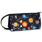 ペンケース 太陽系惑星とコスモプラネタリウム(ブラック) (筆箱 子ども ペンポーチ ファスナー 子供 小学校 シンプル 大容量)