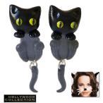 ピアス 猫 黒猫 ピアス|幸運 ブラック キャット|レイチェル マクアダムス コレクション