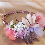 ヘッドアクセサリー ヘッドドレス 花冠 ウェディング 結婚式 ラベンダー ピンク