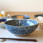 藍染タコ唐草 麺鉢 古来からある伝統の柄 大鉢 ボール そうめん鉢 どんぶり 和食器 国産 美濃焼