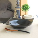 黒結晶 スクエアパスタボール 22.5cm 国産 美濃焼 パスタ皿 カレー皿 デザート ボウル ボール スクエア 角皿 黒い食器 黒 カフェ 器