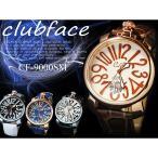 メンズ腕時計 club face トップリューズ  全4色 / 革バンド プレーンタイプ シンプル文字盤 ブレスレッド 生活防水
