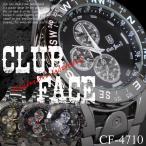 ブラックメタルバンド 44mmメンズ腕時計 -clubface-メンズウォッチ  生活防水 全2色