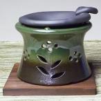 常滑焼山房窯茶香炉(緑色、中円柱型)(ロウソク10個付)