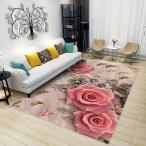 ラグカーペット マット 洗える おしゃれ 滑り止め 絨毯 レッド 赤い バラ 花柄 ホットカーペット ウォッシャブル 心地よい サラ ふわ触感 折り畳み可