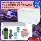 □60cm水槽セット サンゴ簡易育成カスタム 海水アクアリウム用品(水槽・LEDライト&他6点)プロ推奨セット 50Hz 沖縄別途送料