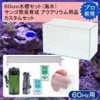 □60cm水槽セット サンゴ簡易育成カスタム 海水アクアリウム用品(水槽・LEDライト&他6点)プロ推奨セット 60Hz 沖縄別途送料