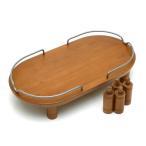 リッチェル ペット用 木製テーブル ダブル ブラウン 犬用・猫用食器台 トレー 関東当日便