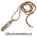 BELIEVE IN MIRACLE ビリーブインミラクル FEATHER XL  SILVER 925 NECKLACE 革紐 ビーズ フェザーネックレス シルバー