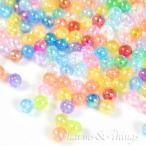 C&T 虹色きらきらアクリル玉オーロラ6mmビーズ穴約1mm【80個】アクセサリー材料プラスチック素材アクリルビーズ軽量カラフル