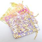 ギフトバッグ 薔薇 オーガンジー巾着(4枚)袋 ハンドメイド プレゼント用