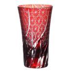 Check Storeで買える「切子ビールグラス 赤 400cc ガラスグラス タンブラー コップ おしゃれ かわいい」の画像です。価格は3,500円になります。