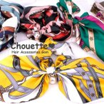 Chou - 送料無料 スカーフ柄リボンシュシュ 5色 ヘアアクセサリー 大人 可愛い 同梱可 h-654