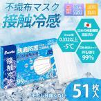 冷感マスク 不織布 個別包装 夏用 冷感 使い捨て 接触冷感 白 ひんやりマスク 在庫あり 51枚入 冷感不織布 BFE99.9