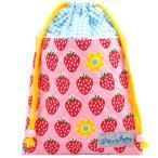 キルティング巾着 いちごちゃん ピンク  日本製ハンドメイド《入園・入学》