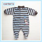 カーターズ(Carter's-1n)アウトレット品 ボーダー×ワンちゃん柄の長袖カバーオール。フリース(50cm 60cm 70cm 80cm 90cm 女の子用)