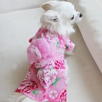 オーダーメイド犬服 犬服の浴衣 ピンク牡丹