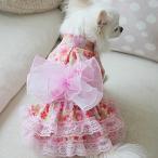オーダーメイド犬服の浴衣ふわふわ帯浴衣ドレスピンク