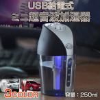 USB給電式 ミニ超音波加湿器 LEDライト付き スチーム 卓上 オフィス 車載 ミスト 小型 乾燥対策 シガーソケット シンプル ◇CHI-AK201