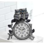 置き時計 ペアふくろう置き時計-朱錫 置時計 おしゃれ  北欧 目覚まし時計  卓上 アラーム アンティーク