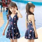 キッズ  水着 スイムウェア 子供 レギュラースイムウェア バックレスドレス ジュニア 猫柄 ガールズ  ワンピース 水泳 女の子  スイミング 練習用着