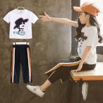 子供 女の子 キッズ セットアップ おしゃれ  キッズ  上下セット セットアップ カジュアル 夏  Tシャツ スポーツウェア デニムパンツ