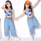 女の子 子供 チアガール衣装  キッズ ダンスウェア ダンス衣装 セットアップ 上下セット セットアップ ジュニア 発表会 チアダンス おしゃれ