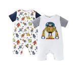 ベビー服ロンパース半袖2点セット男の子夏カバーオール子供服赤ちゃん肩ボタンロボット柄
