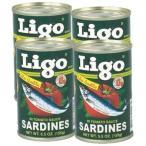 LIGO SARDINES GREEN 155gx4 pcs イワシの缶詰(トマトソース漬け)