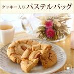 女性が喜ぶ お菓子【クッキー入り選べるパステルバッグ】/工芸茶1種とクッキー2枚セットLZ