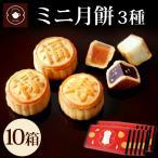 お正月 ギフト お菓子 ミニ月餅 3個入 10箱セット ハス 黒ゴマ ココナッツ 個包装 N