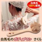 浅草アートブラシ 白馬毛のボディブラシ さくら お風呂 ボディーブラシ 天然木 ひのき ヒノキ 檜