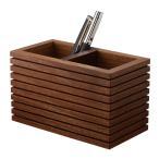 ペンスタンド ブラックウォールナット ライン ダブル ペン立て 木製 ウォルナット シンプル おしゃれ 雑貨 高品質 上質 ギフト プレゼント 贈り物 社内 上司