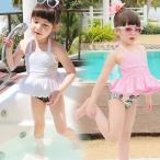 女の子子供水着水着セパレート水着紫外線カットフラワー3点セット水着韓国可愛いスイムウェア 水泳70-145cm